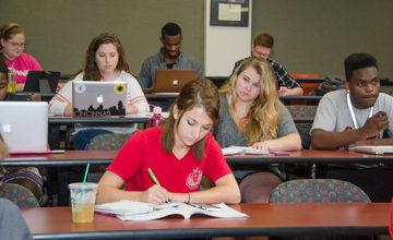 Students focused on their work.