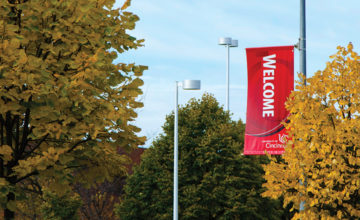 "A ""welcome"" banner on the UCBA campus."
