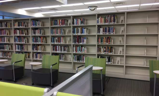 Seating in front of a bookshelf