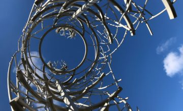 Image of a metal sculpture on UCBA campus