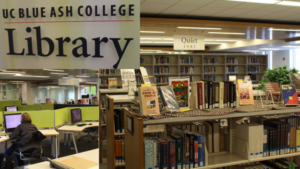 A photo collage of three images of the UCBA library, a library sign, bookshelves, and a picture of computer desks.