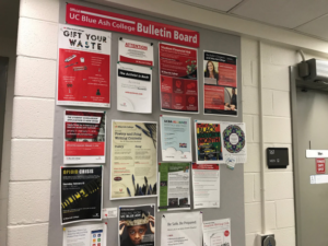 Photograph of a bulletin board full of posters and fliers.