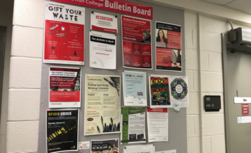 A bulletin board full of fliers