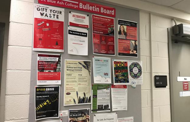 A bulletin board full of fliers