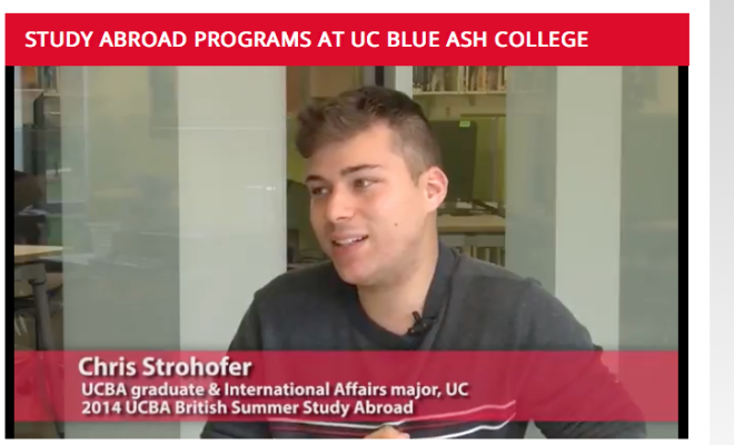 A student under a heading Study Abroad Programs at UC Blue Ash College