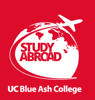 A globe and plane with the text Study Abroad UC Blue Ash College