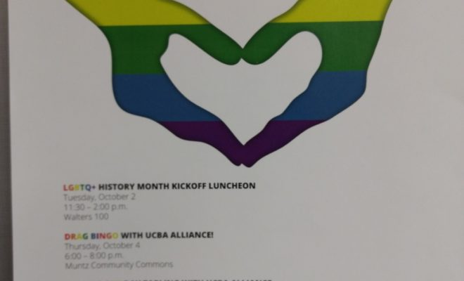 A picture of poster that says LGBTQ+ and includes rainbow-colored hands forming a heart