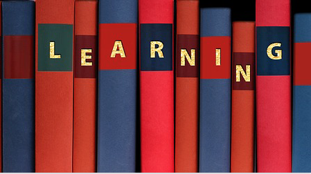 """LEARNING"" on book spines, in gold letters, part of a free image from https://www.maxpixel.net/Know-Learn-Adult-Education-Power-Book-Books-2706977"