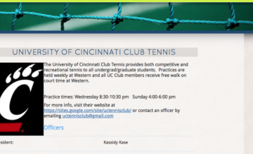A screen shot of Club Tennis information from the web site
