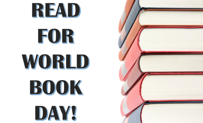 Poster to encourage to people to read for World Book Day
