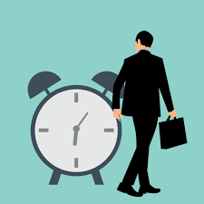 An illustration of a man walking by a clock
