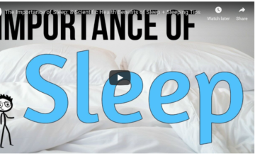Screenshot from UC Wellness sleep video with the words importance of sleep
