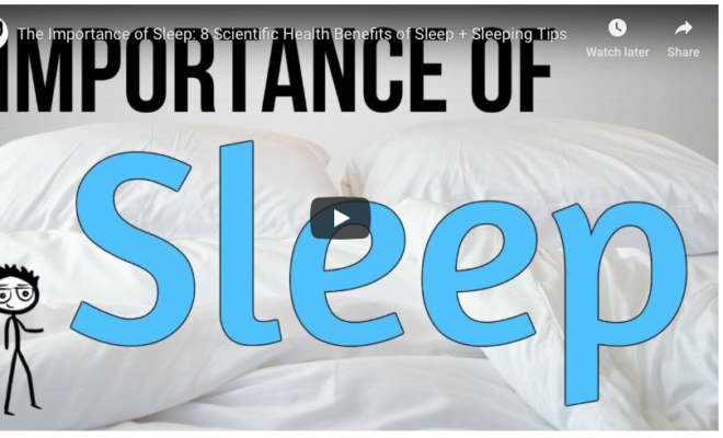 Screenshot from UC Wellness sleep video with the words importance of sleep