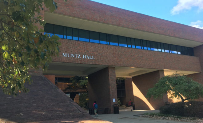 Muntz Hall, a brick building with a row of windows