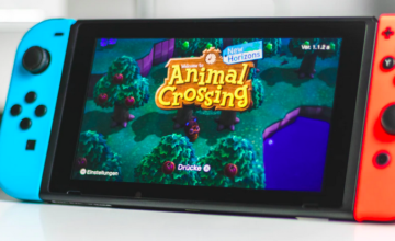A Nintendo switch with Animal Crossing